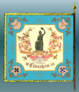 So soll die Fahne des KSV Eitensheim nach der Änderung aussehen: Die Jahreszahlen der Kriege des 18ten -Jahrhunderts sollen darauf wieder erscheinen. Gegenüber der Merentiorden und das Deutsche Kreuz.